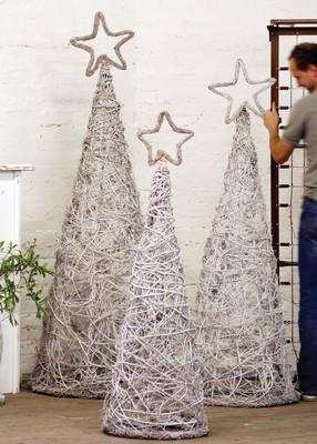 s/3 giant white wash topiaries with stars