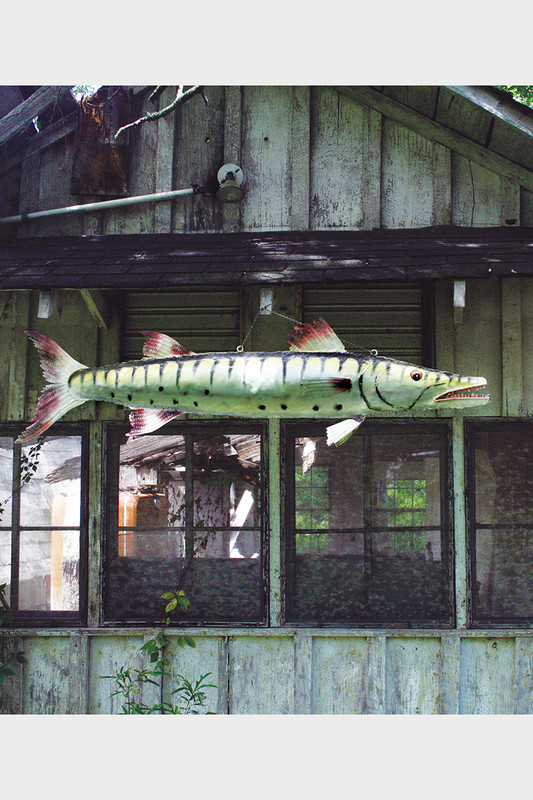 giant painted metal barracuda