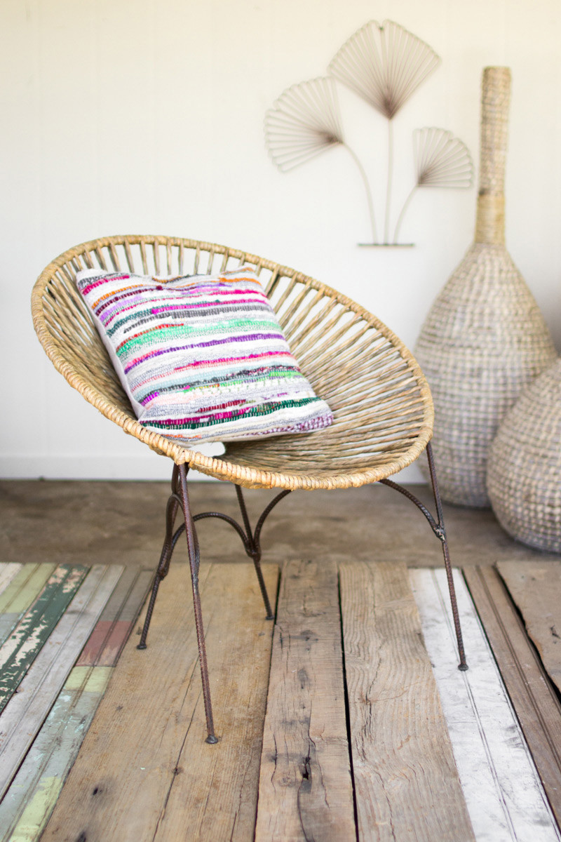 Moon Chair rush moon chair  rustic recycled metal frame