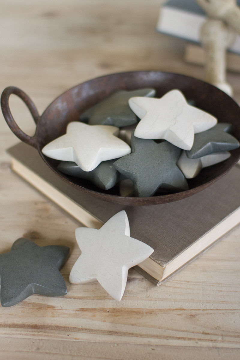 hand carved stone stars