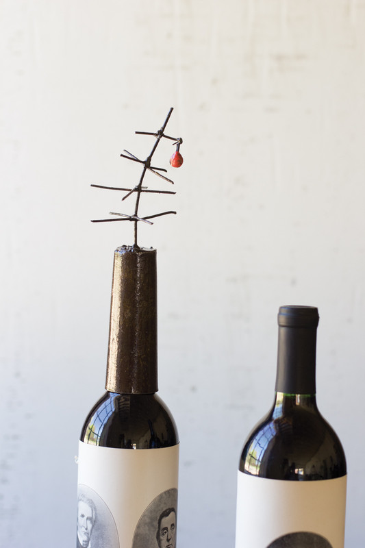 RUSTIC METAL TWIG TREE WITH RED CHRISTMAS BALL WINE TOPPER