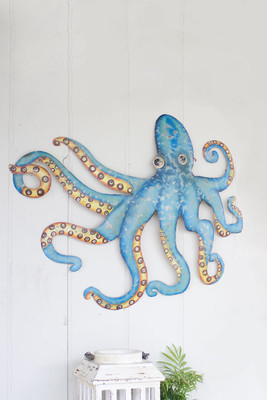 hand painted metal octopus