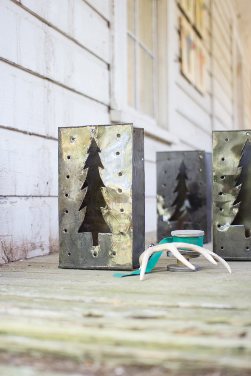 Set Of 6 Tin Bag Christmas Tree Luminary