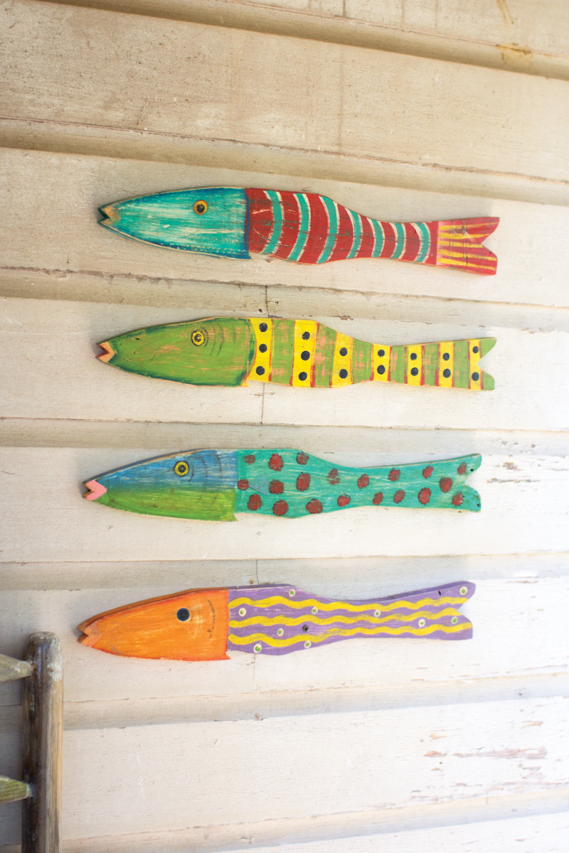 Set Of 4 Painted Wooden Fish