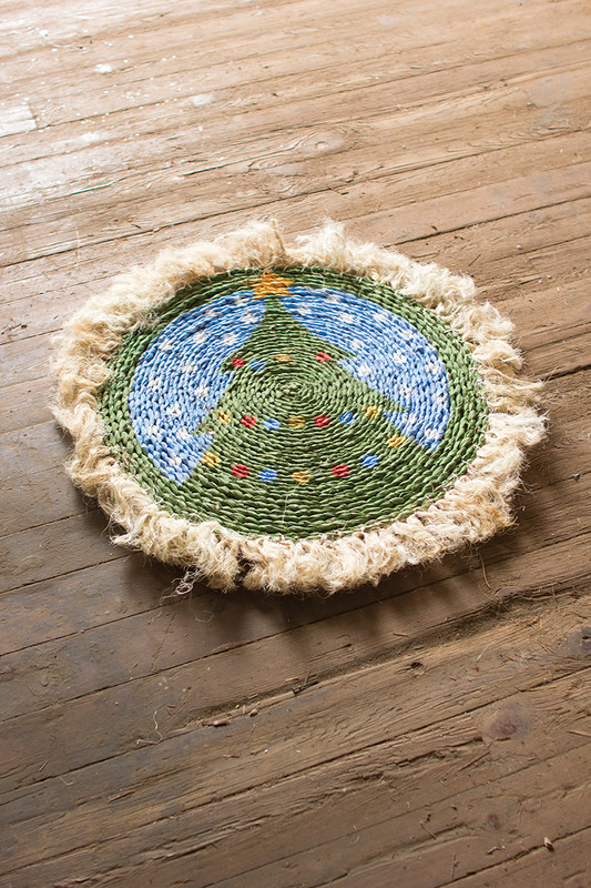 SEAGRASS TREE RUG WITH SISAL BORDER