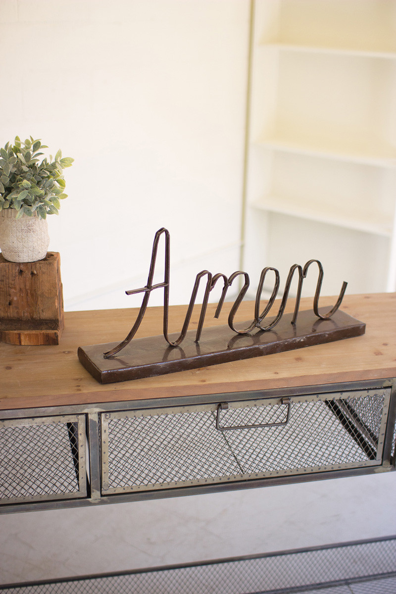 RECYCLED METAL AMEN ON A STAND
