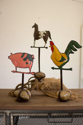 PAINTED METAL BARN ANIMALS W/ CAGED