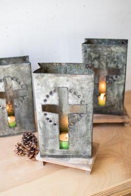 Set of 6 Haitian Recycled Metal Cross Luminaries