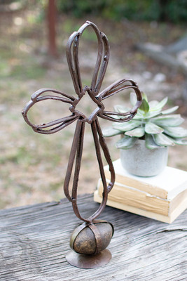 Haitian Recycled Metal Sister Clara's Cross on a Caged Rock Base
