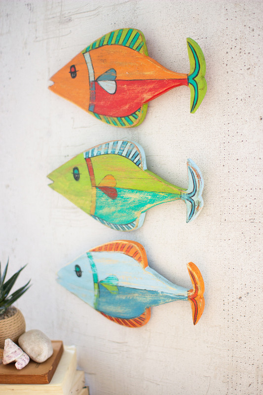 Set of 3 Colorfully Painted Wooden Fish Wall Hangings