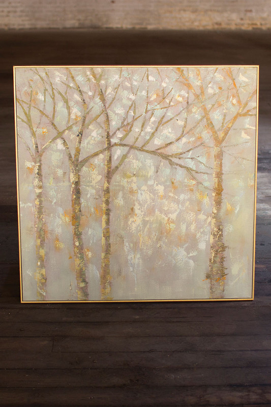 oil painting - winter trees in gold frame