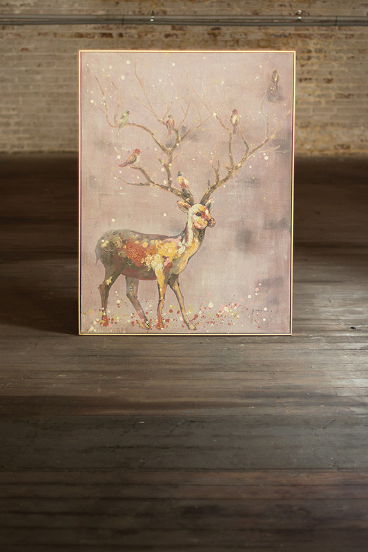 oil painting - folk art deer with tree branch antlers