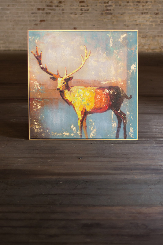 oil painting - deer with gold frame