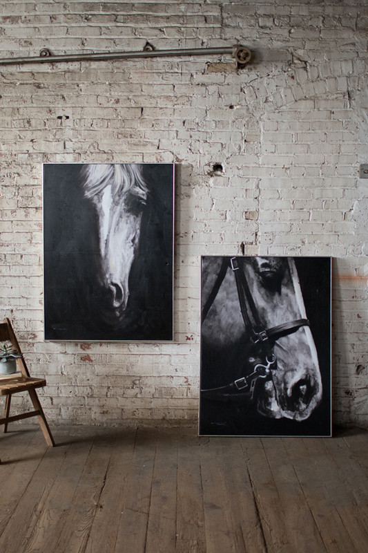 black and white horse frontal view with silver frame / oil painting
