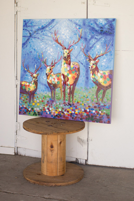 oil painting - four colorful deer with blue background