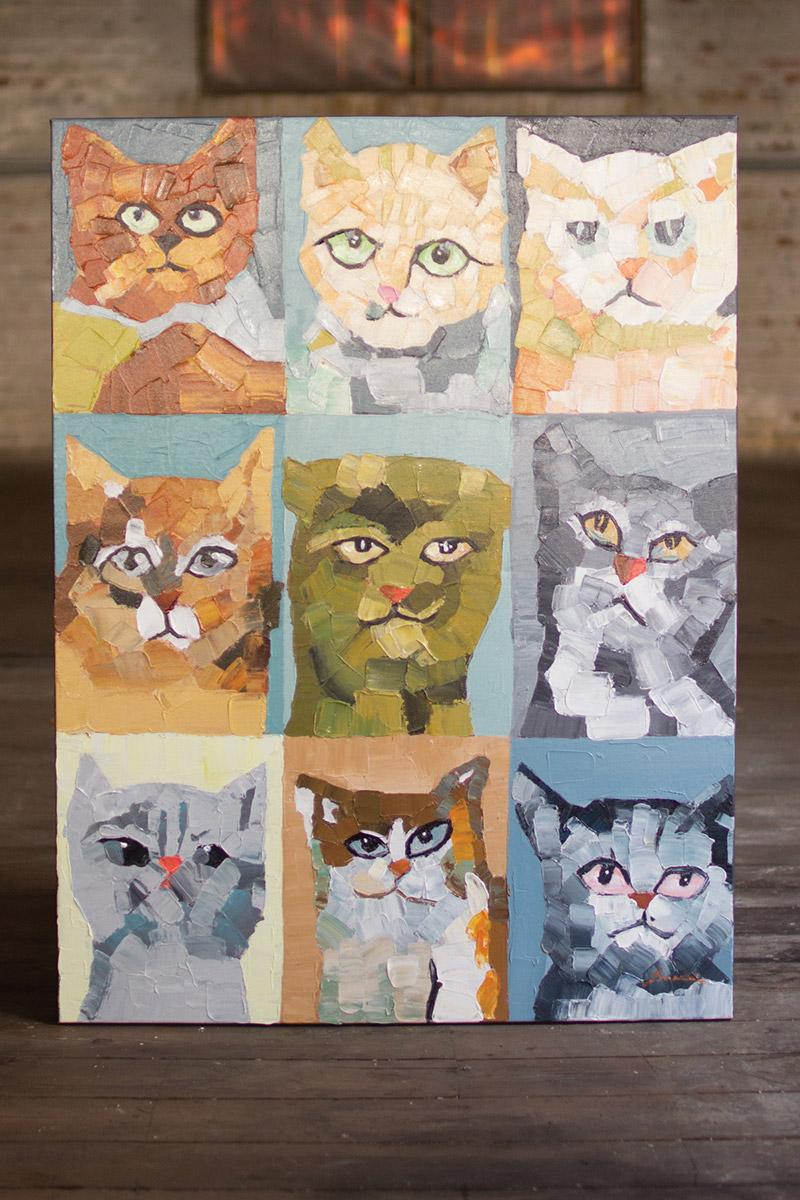 oil painting - nine crazy cats