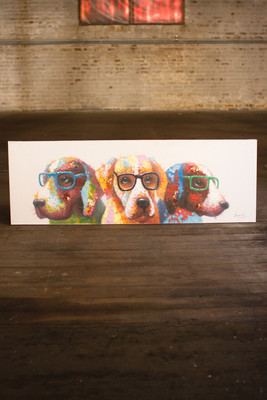 oil painting - colorful dogs with glasses