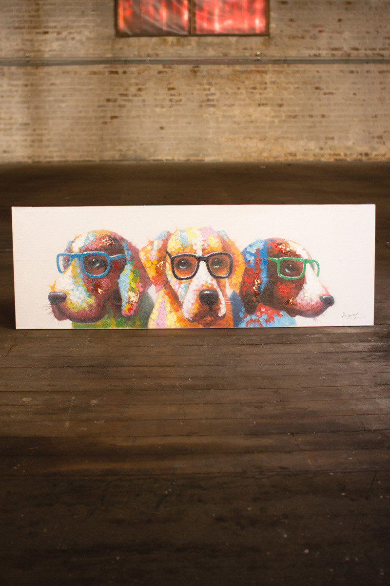 High End Office Furniture >> oil painting \ colorful dogs with glasses