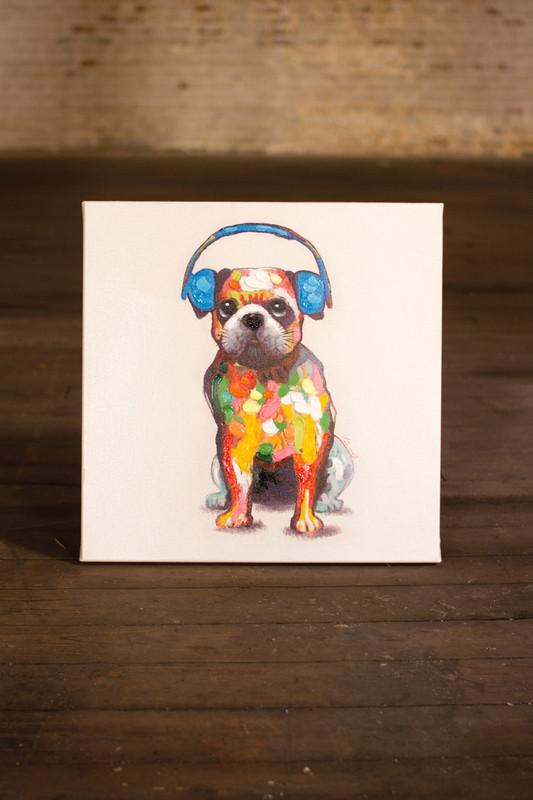 oil painting - bulldog with blue headphones