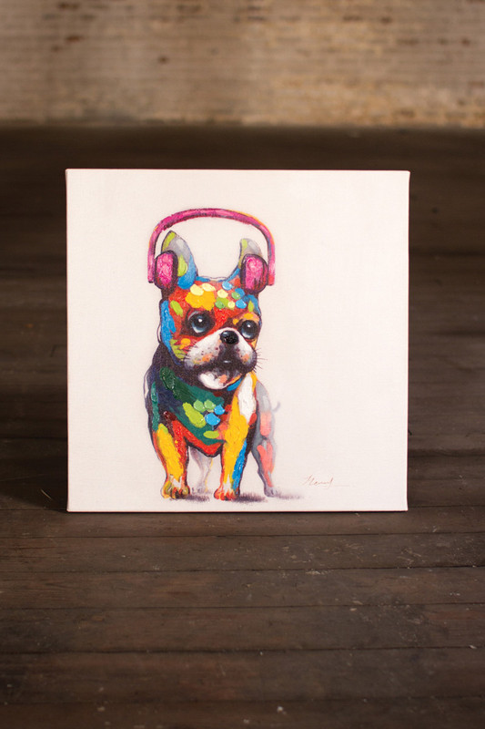 oil painting - bulldog with pink headphones