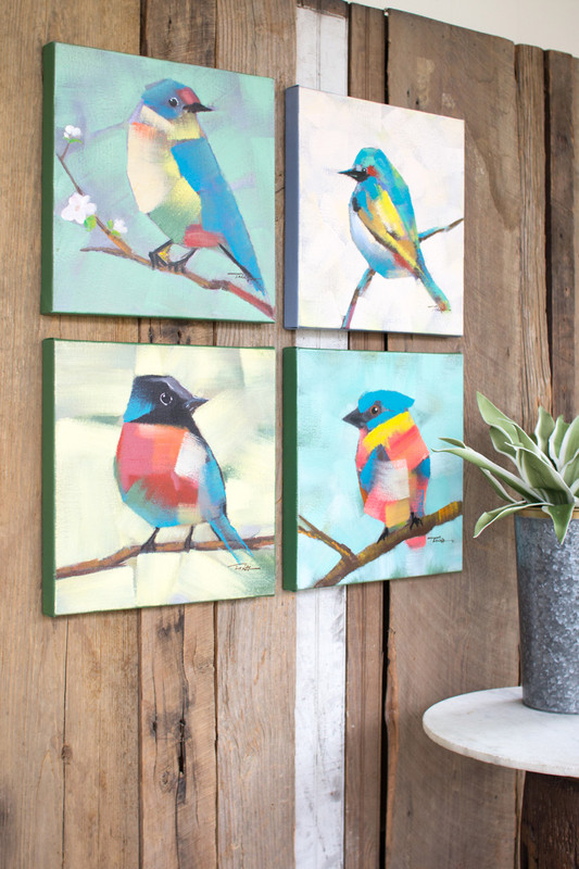set of 4 birds oil paintings