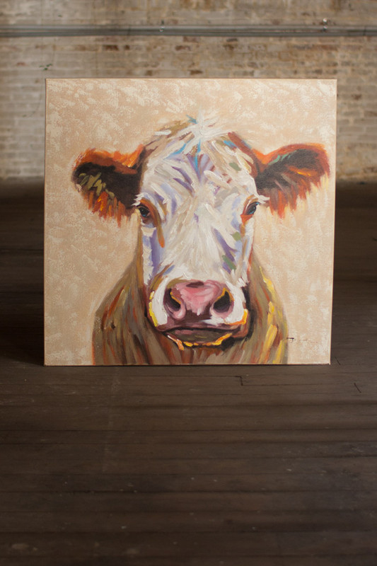 happy cow oil painting