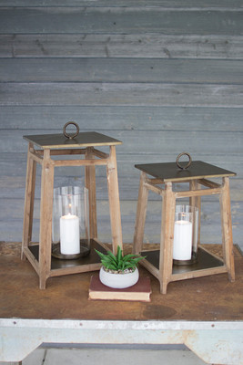METAL AND WOOD LANTERNS