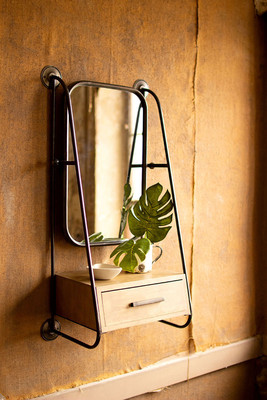 Metal Entryway Organizer with Mirror and Drawer