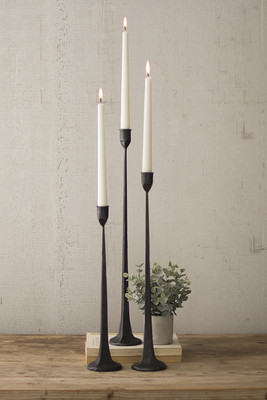Set of 3 Tall Cast Iron Taper Candleholders