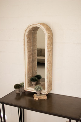 wooden arched frame mirror