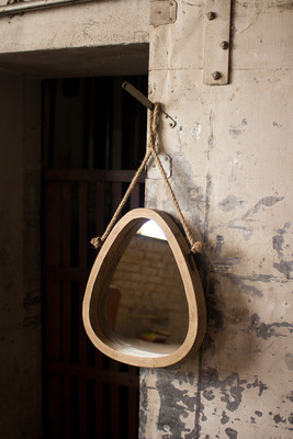 WOODEN WALL MIRROR WITH ROPE HANGER