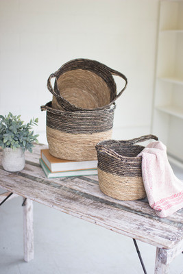 THREE BLACK AND NATURAL BASKETS
