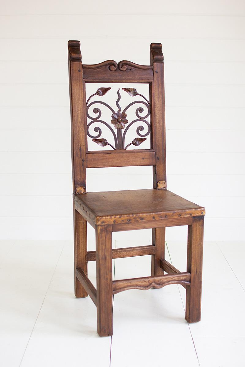 reclaimed dining chair - iron inset & reclaimed Colombian hardwood dining chair with iron inset