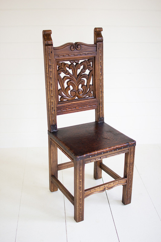 reclaimed dining chair - carved vines