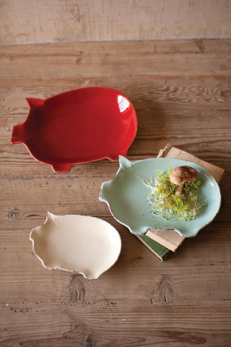 set of 3 ceramic pig plates