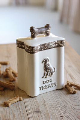 white ceramic dog treats canister
