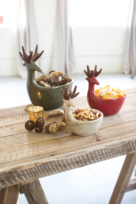 set of 3 ceramic deer bowls - sage, red, white