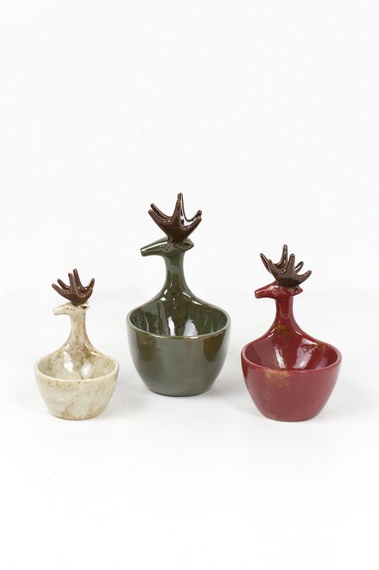 set of 3 ceramic deer bowls - sage,