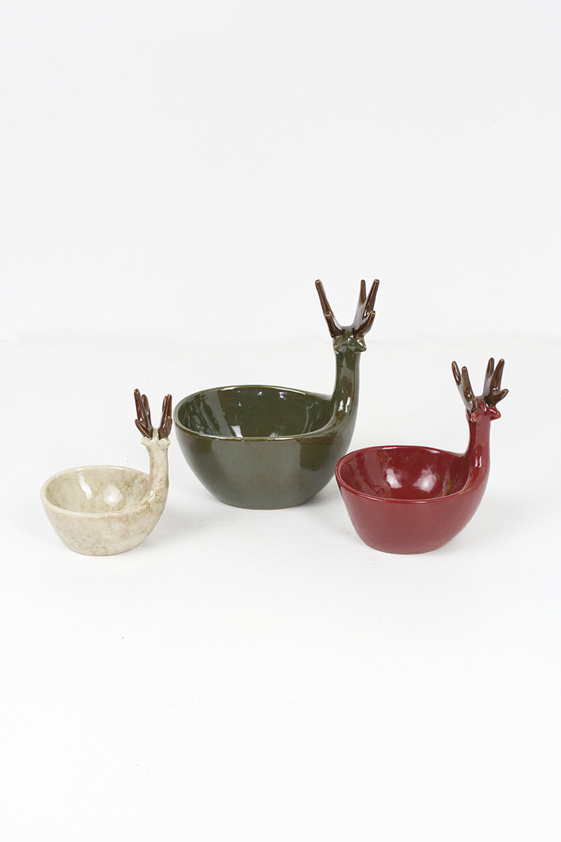 Set Of 3 Ceramic Deer Bowls