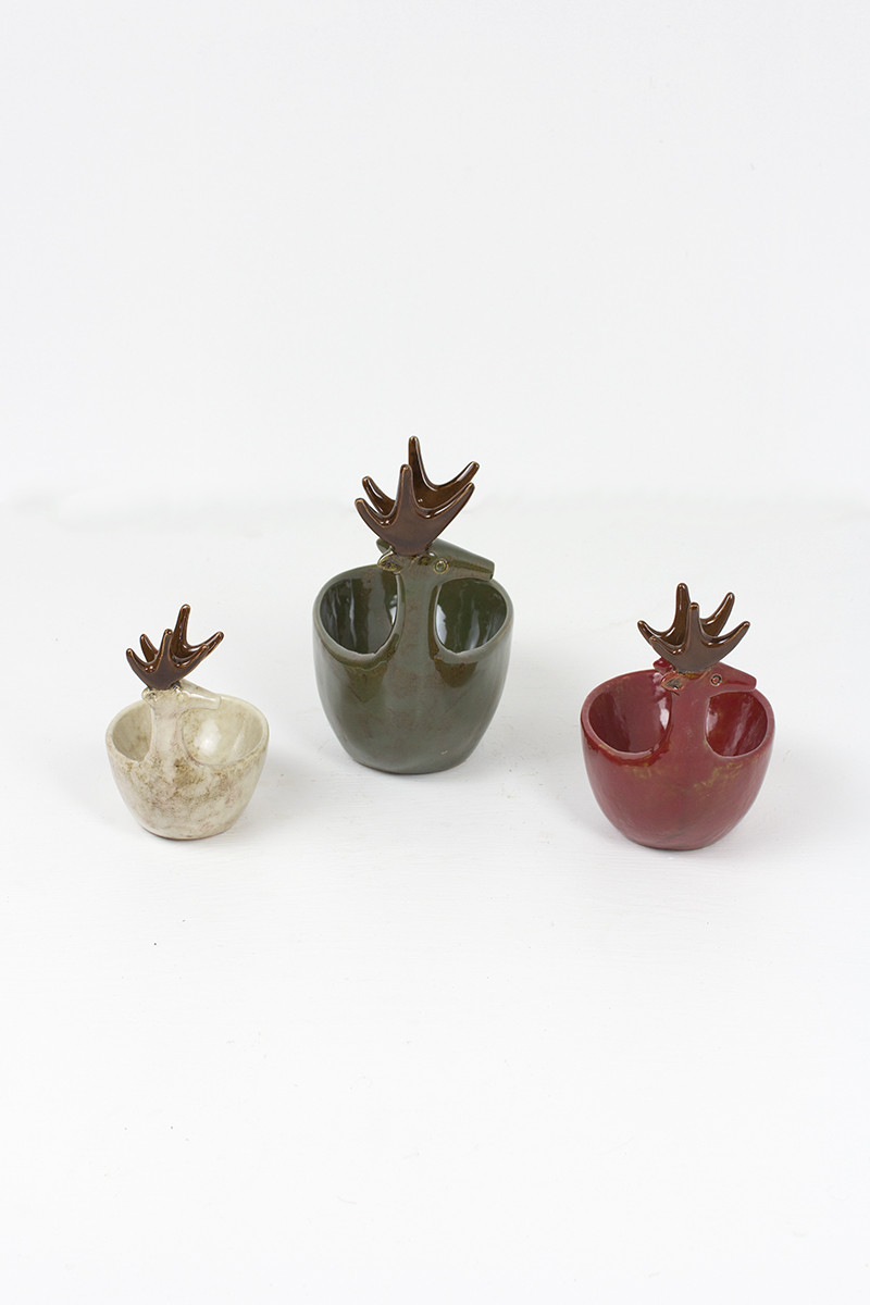 set of 3 ceramic deer bowls - sage,