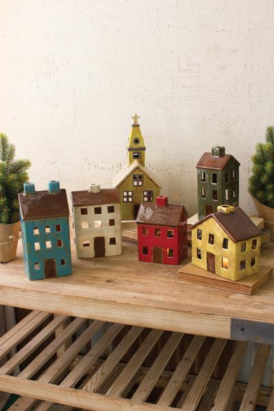 set of 6 ceramic village