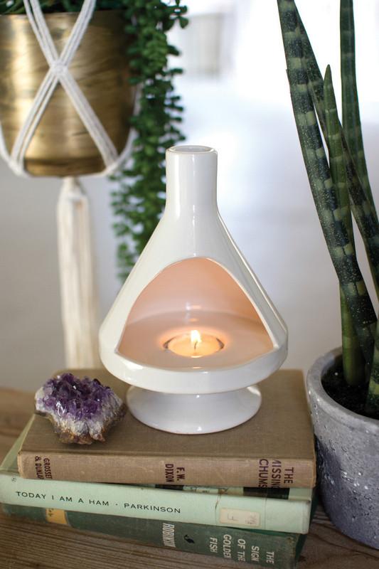 white ceramic retro fireplace tealight holder