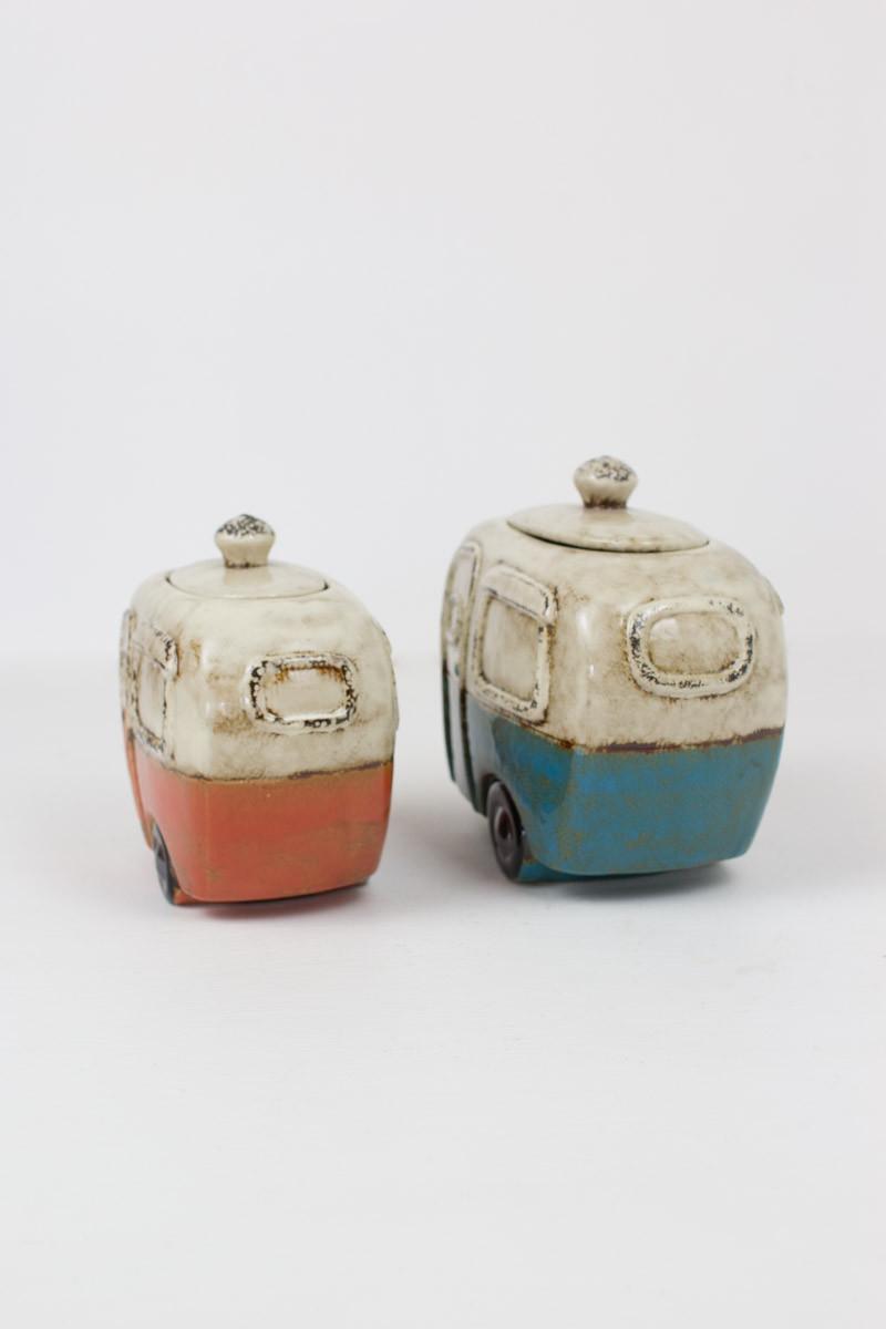 Set Of 2 Ceramic Camper Canisters