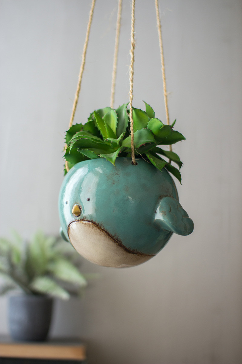 ceramic hanging planter blue bird