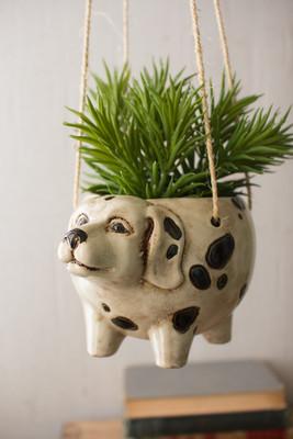 ceramic hanging planter dog