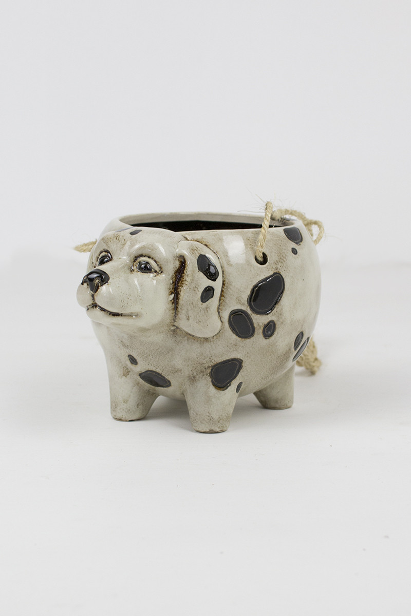 ceramic hanging planter dog