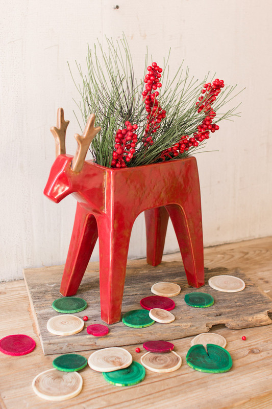 ceramic deer planter