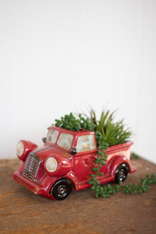 ceramic red truck planter