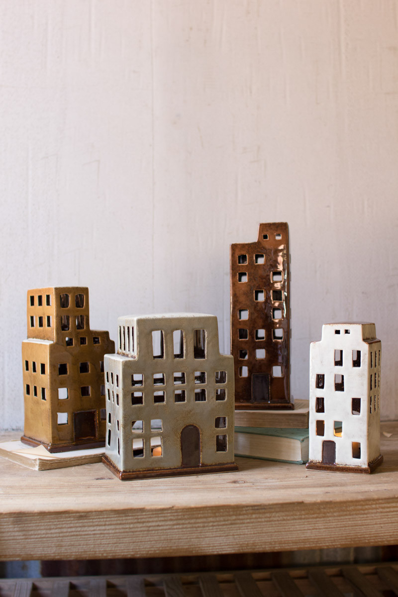 CERAMIC BUILDINGS CANDLE HOLDERS