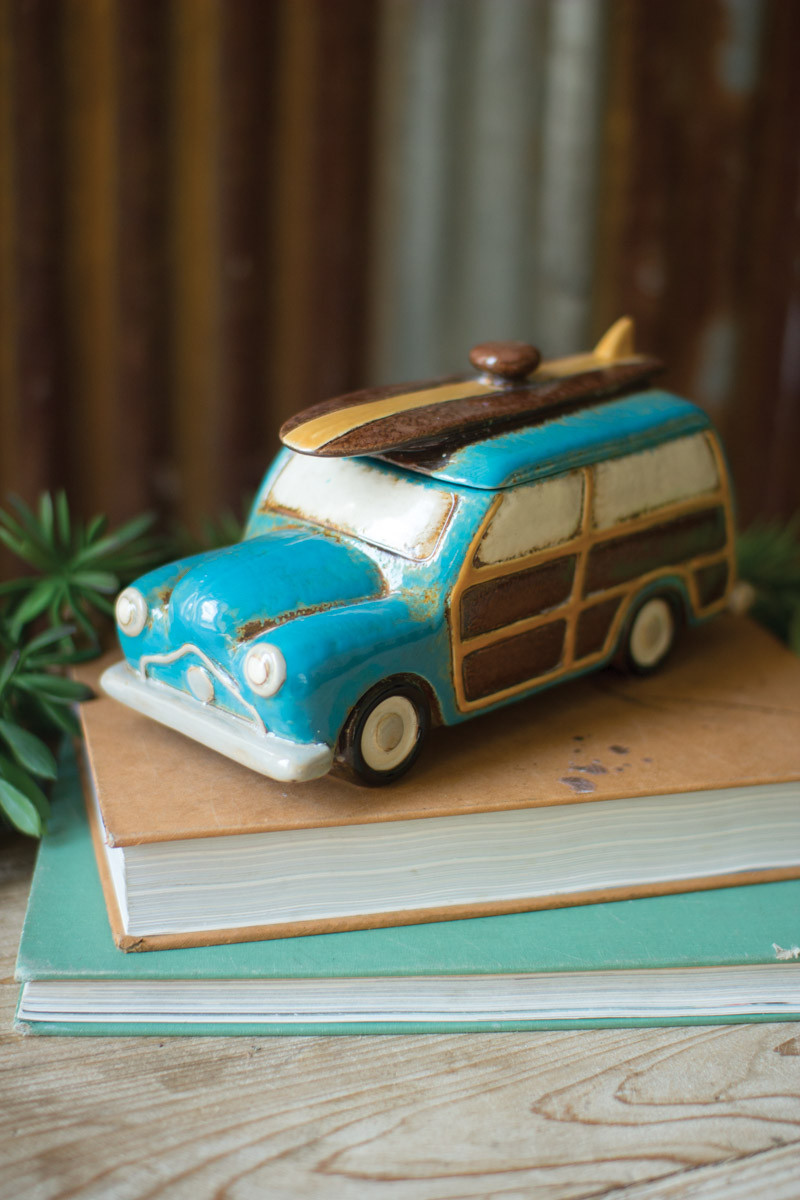 ceramic woody wagon canister